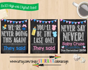 Baby Number 3 Pregnancy Announcement Never Say Funny Chalkboard Poster