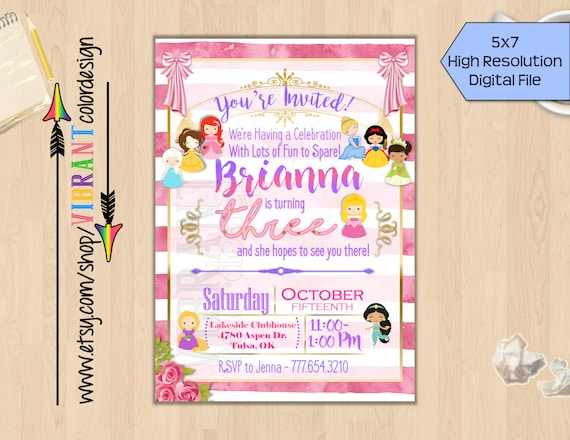Disney Princess Birthday Invitation Theme