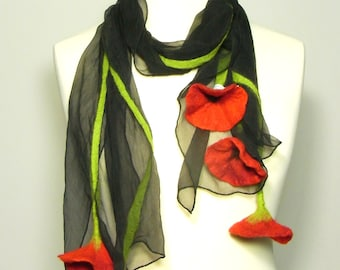Black and red poppy scarf handfelted scarf red flowers poppies boho chic statement  flower gift Charlotte Molenaar gift women free shipping