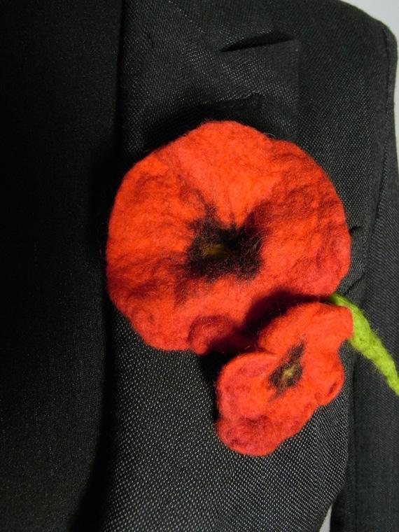 Mohn Brosche Rot Blume Brosche Poppy Pin Filz Blumen Brosche | Etsy