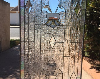 The Le Mans Classic Fluer De Lis Clear Beveled Textured Geometric Stained Glass Window We Do Custom Work