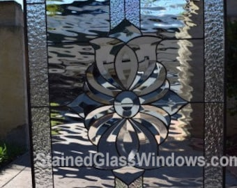 The San Marcos Lovely Clear Beveled Textured Geometric Stained Glass Window We Do Custom Work Please Email Me For A Quick Quote