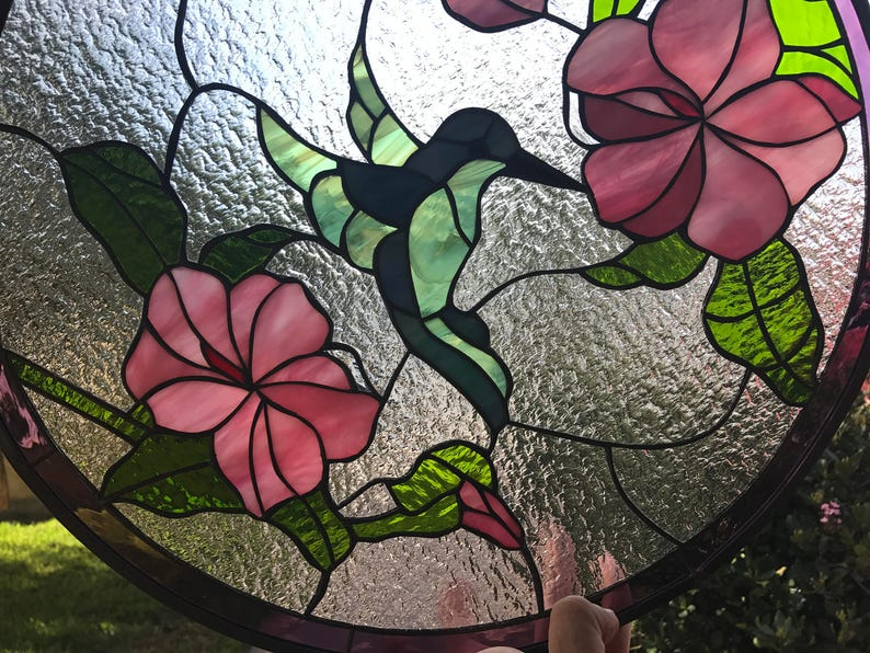 Colorful Hummingbird Hibiscus Flowers Stained Glass Panel Etsy