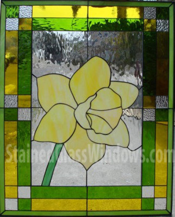 Beveled Daffodil ....stained glass hanging