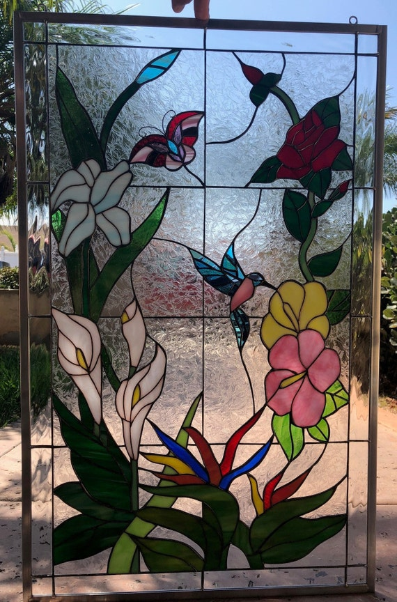 Stained Glass Butterfly /& Flowers