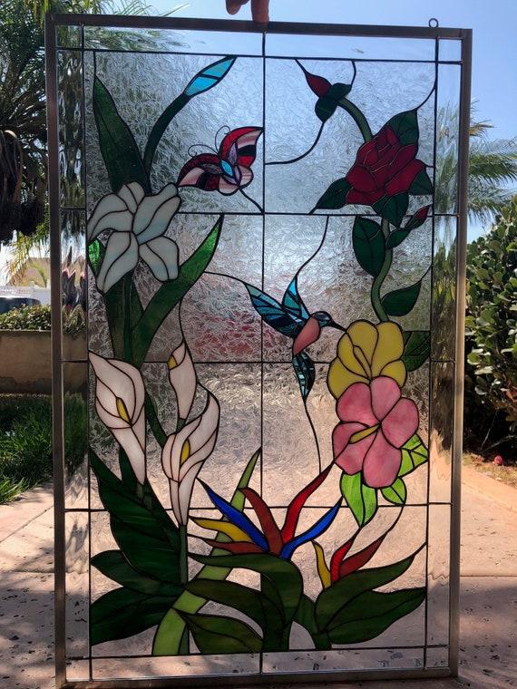 Stained Glass Design Coffee Mug Hummingbird Flowers NEW