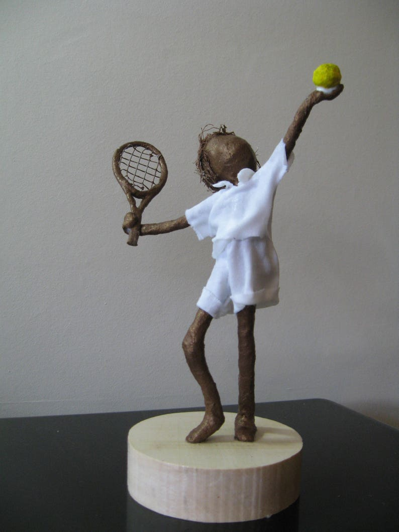 Little Tennis Player. Made to Order. sculpture of tennis image 0