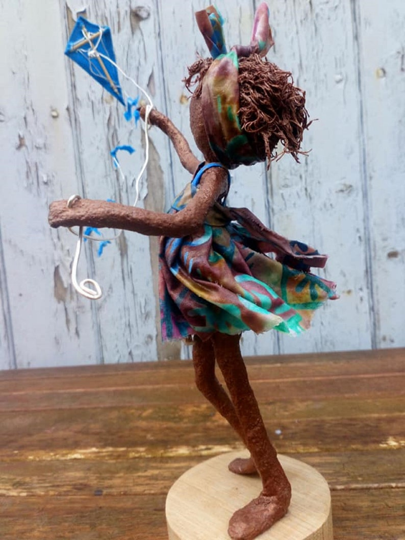 Kite Flyer Sculpture   Girl with kite. Made to order image 0