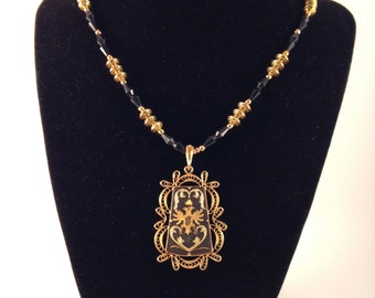 Spanish Filagree with Russian Royal Crest Necklace - OOAK