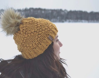 62b56f75168 Bulky Etta Hat. Winter Hat with faux fur pom. Mustard Knit hat. Gifts for  her. Womens winter knit hat. Ready to Ship