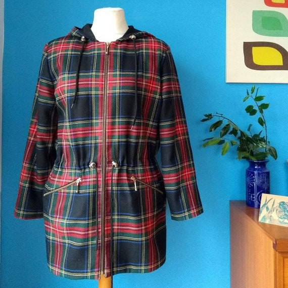 Vintage 1990s ALJEAN Tartan Hooded Jacket.