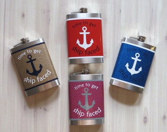Custom Flask Ship Faced Funny Gift Birthday Christmas Nautical For Her HimCustom