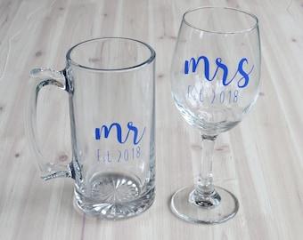 Custom Wedding Set, Mr and Mrs Glasses, Mr and Mrs Gift, Custom Wine Glass, Custom Beer Glass,Established Date,Wedding Gift,Anniversary Gift