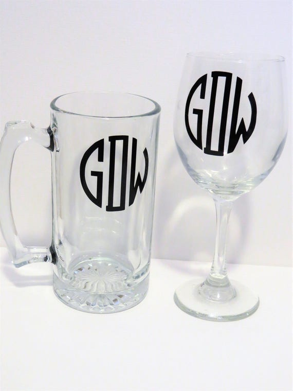 Handmade Monogrammed Personalized Wine Glass Birthday Christmas Present Gift