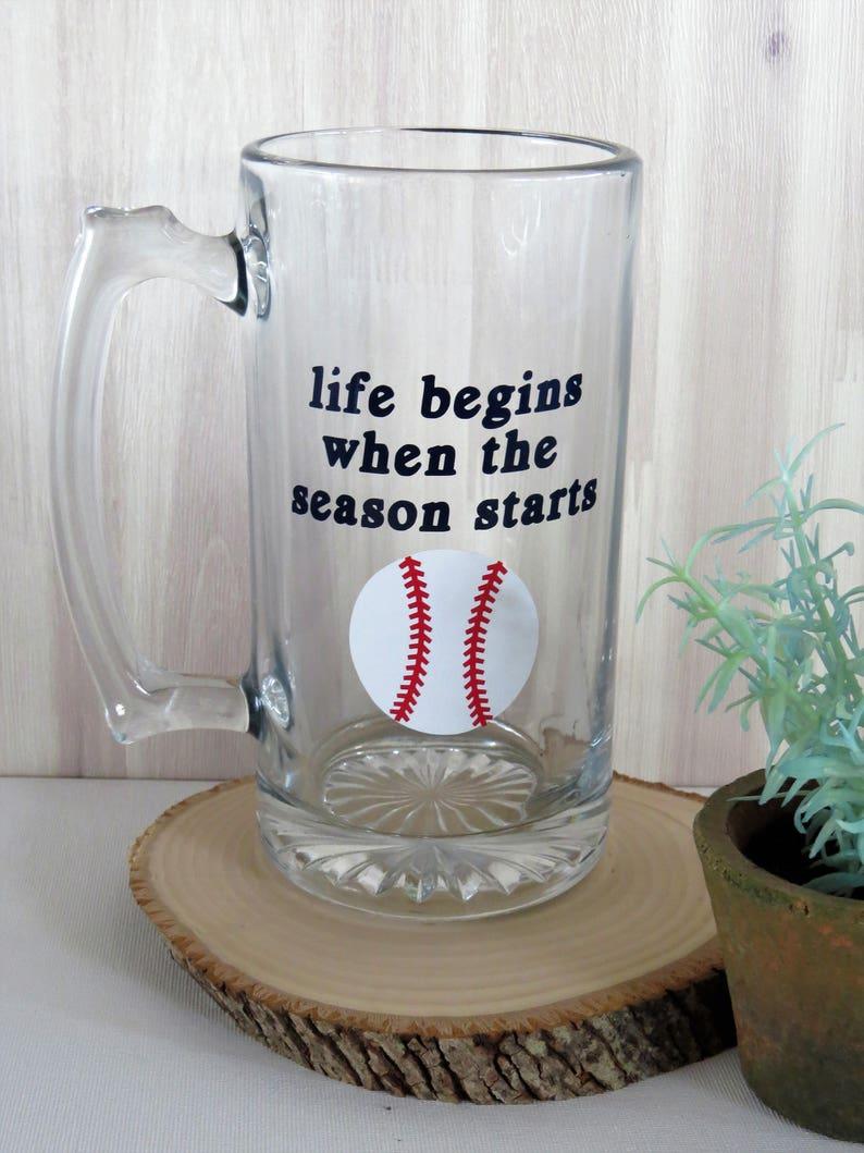 Baseball Beer Glass Gift for Him Custom Beer GlassBaseball image 0