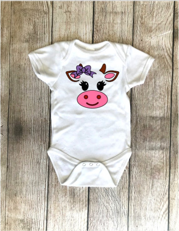 c57840517f53 Cow Onesie with Cow Tail Cow Theme Animal Onesie Baby Cow