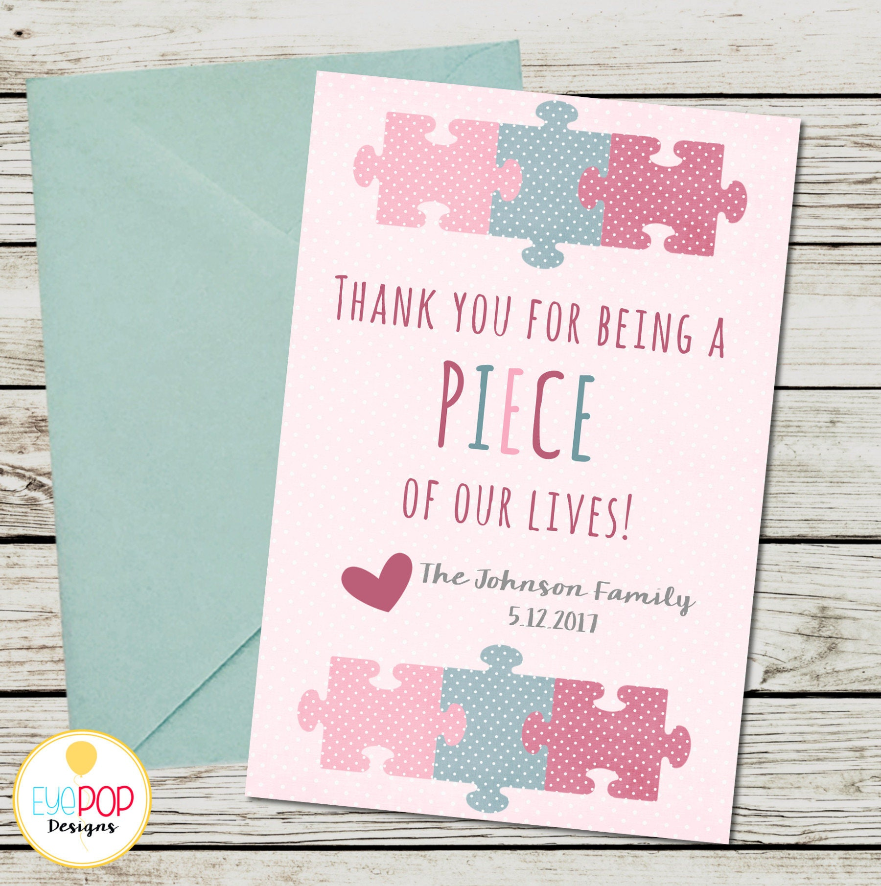 Missing Piece Thank You Card Adoption Baby Shower Girl Etsy