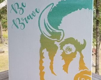 Be Brave Bison Buffalo Rustic Cabin Western Canvas or Wood Wall Art