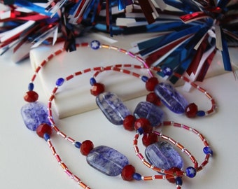 Stars and Stripes. 4th Of July Necklace. Long 37 Inch Rope Style Necklace. Red White Blue 4th of July Holiday Necklace. MLN #274