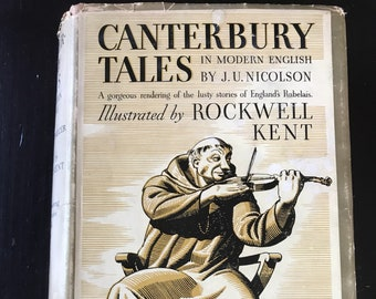 Vintage Hardback Edition Canterbury Tales by Geoffrey Chaucer Translated by J. U. Nicholson and Illustrated by Rockwell Kent - 1934