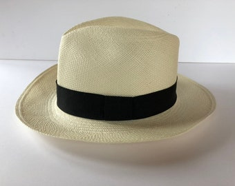 02fd03ede248 Vintage Genuine Men's Panama Hat - Made in Ecuador - Size 59 Size 7 3/8