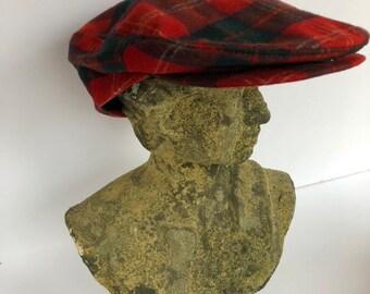 02944f029 Red plaid wool hat | Etsy
