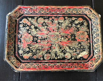 Vintage Wood Black and Red Chippy Lacquered Tray - Florentine or Khokhloma Russian
