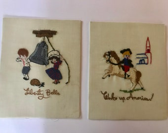 Vintage Pair of Unframed Hand Embroidered Liberty Colonial Patriotic Whimsical Panels