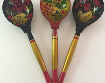 Vintage Set of 3  Khokhloma Russian Wooden Lacquer Spoons