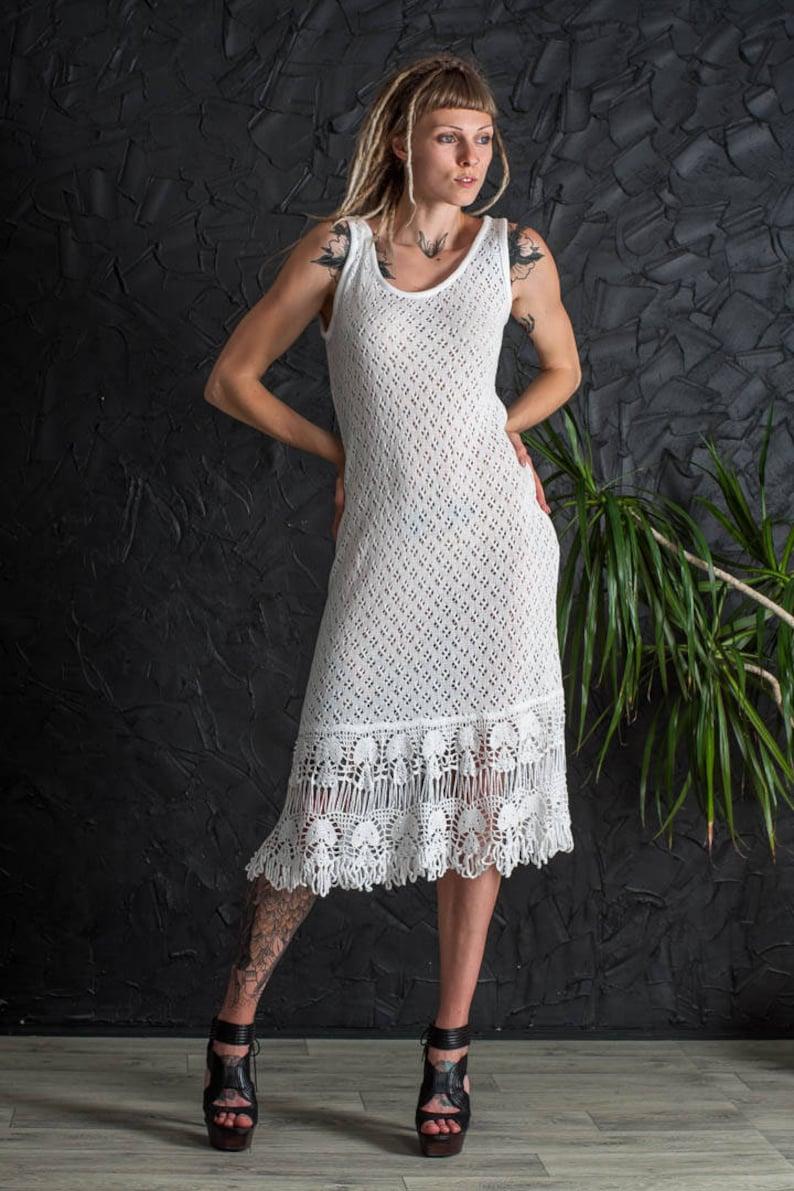 cb7d71f97fa Сrochet White sundress beach wedding dress sleeveless cocktail   Etsy