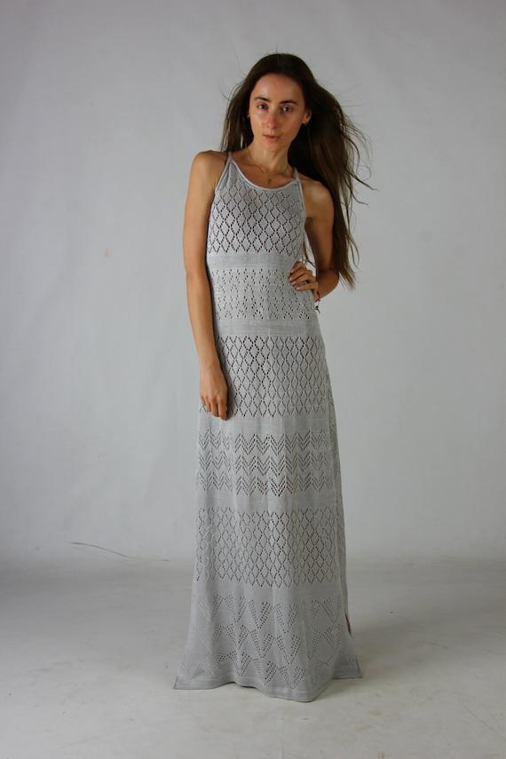 Crochet dress Crochet floor grey dress Crochet grey lacy sundress Handmade viscose Dress Crochet Beachwear dress evening slits maxi gown