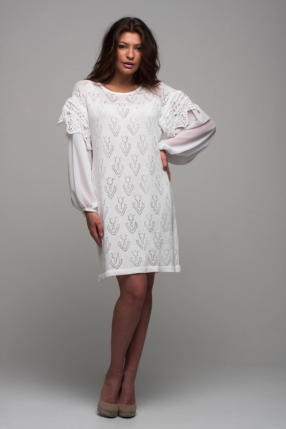 Vestido de fiesta blanco de encaje