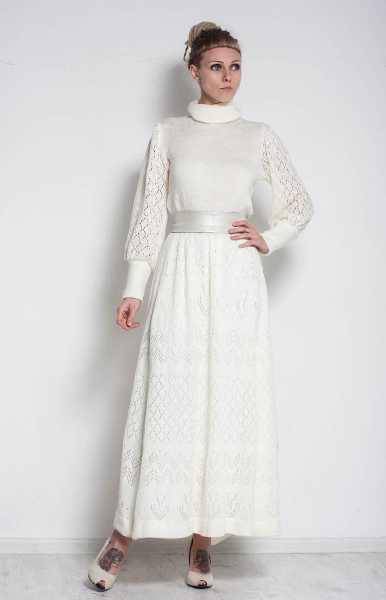 bc697c8366 White maxi dress turtleneck office dress Long sleeve crochet