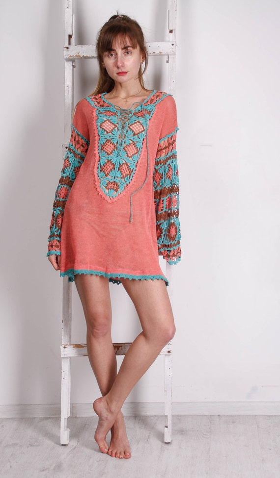 Coral CROCHETED tunic Colourful Lacy Women crocheted BOHO Flower Ethnic Crocheted KNITTED Crocheted Tunic top Tunic Tunic Tunic tH4WxU