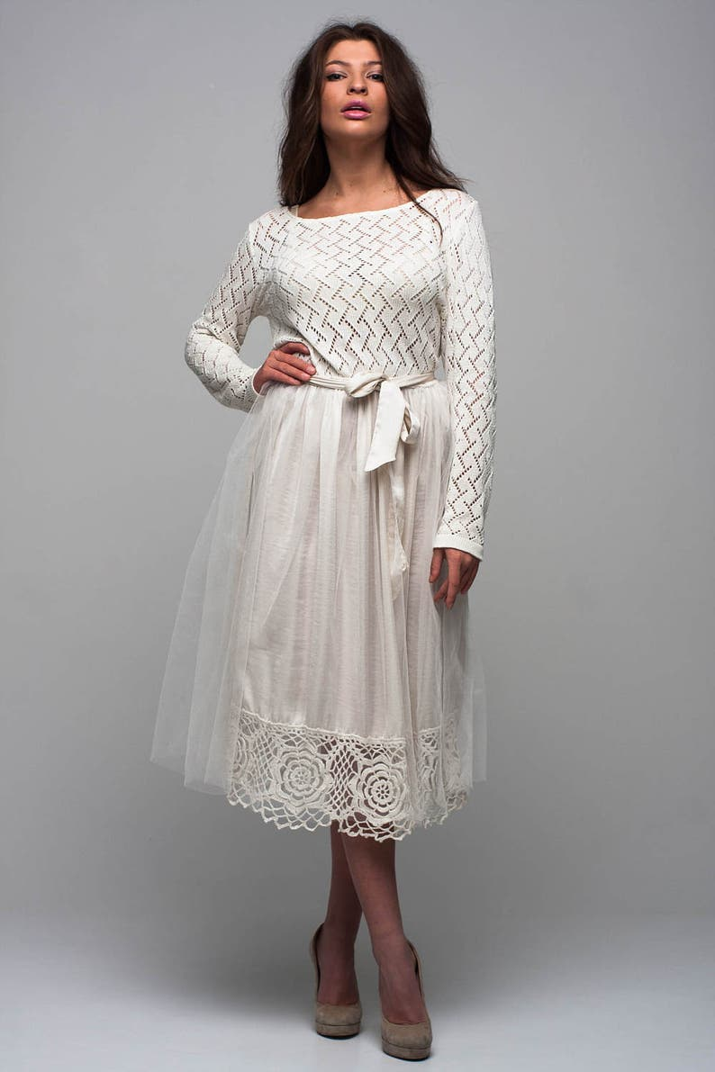 Wedding long sleeves dress Special day dress Tulle tutu white dress Knit lace dress Bridal dress Tutu dress Pleated dress Lace dress