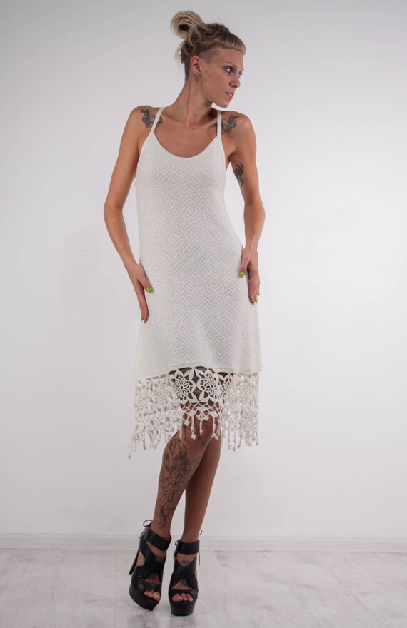 Crochet white dress KNIT wedding mini Dress lace viscose sundress Crochet white Dress evening dress Beach viscose SunDress cocktail Dress