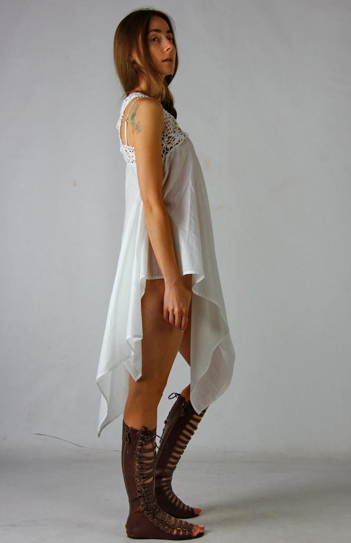 6da92813 Sukienka sukienka Crochet szydełkowania białe tuniki asymetryczne tunika  Beach kobiet letnie tuniki, BOHO crochet Beach Dress, koronkowy tunikę, na  ...