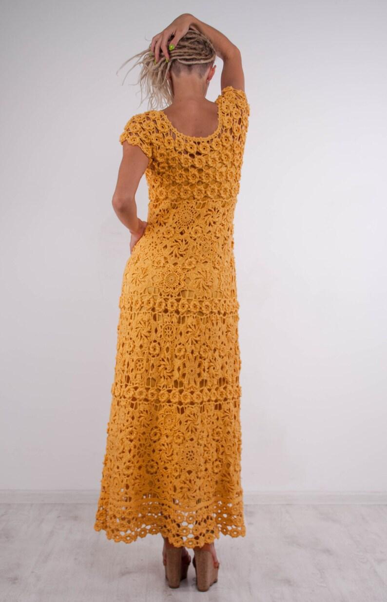 Crochet maxi dress handmade formal dress ready to ship party lace dress Handmade yellow linen Dress Crochet Beachwear crochet evening gown