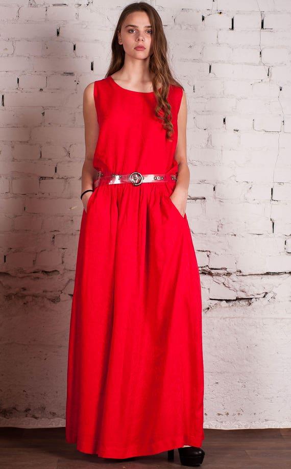 Red maxi sundress, Evening dress, Cotton long summer dress, Red summer dress, Romantic maxi dress, Long summer dress, Modest dresses, Dress