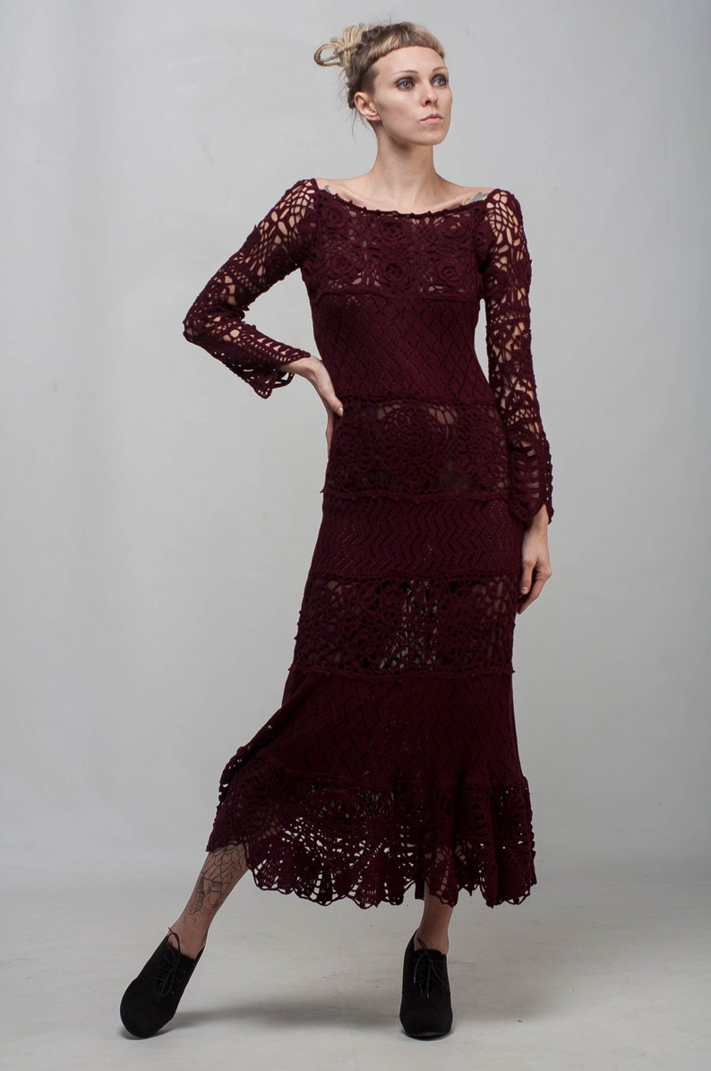 48812d7e504b Marsala Formal dress burgundy lace dress maxi long sleeve