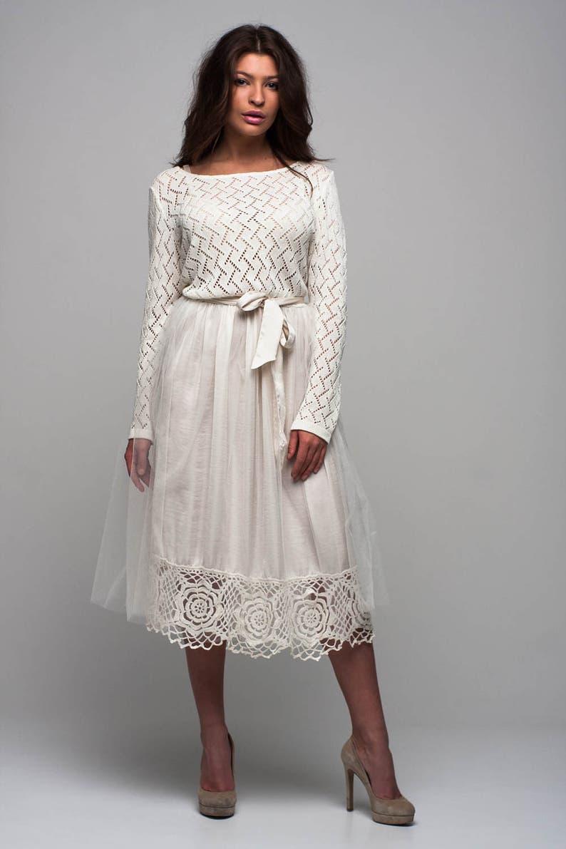 93c2d879 Tutu białego tiulu, plisowana sukienka, sukni ślubnej, Koronkowa sukienka z  dzianiny, specjalny dzień sukienka, suknia z długim rękawem, Tutu ...