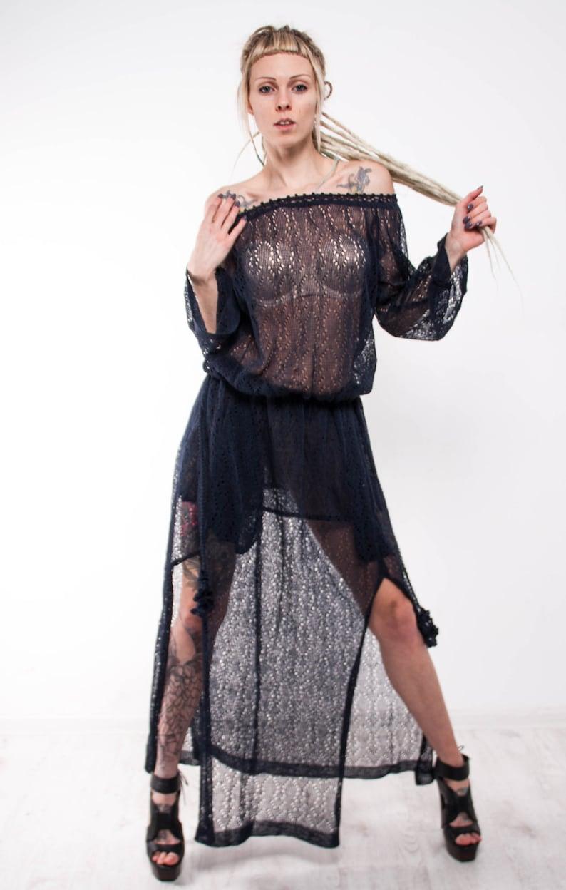 9ab3976f24 Crochet maxi dress Knit Maxi dress off shoulder navy dress