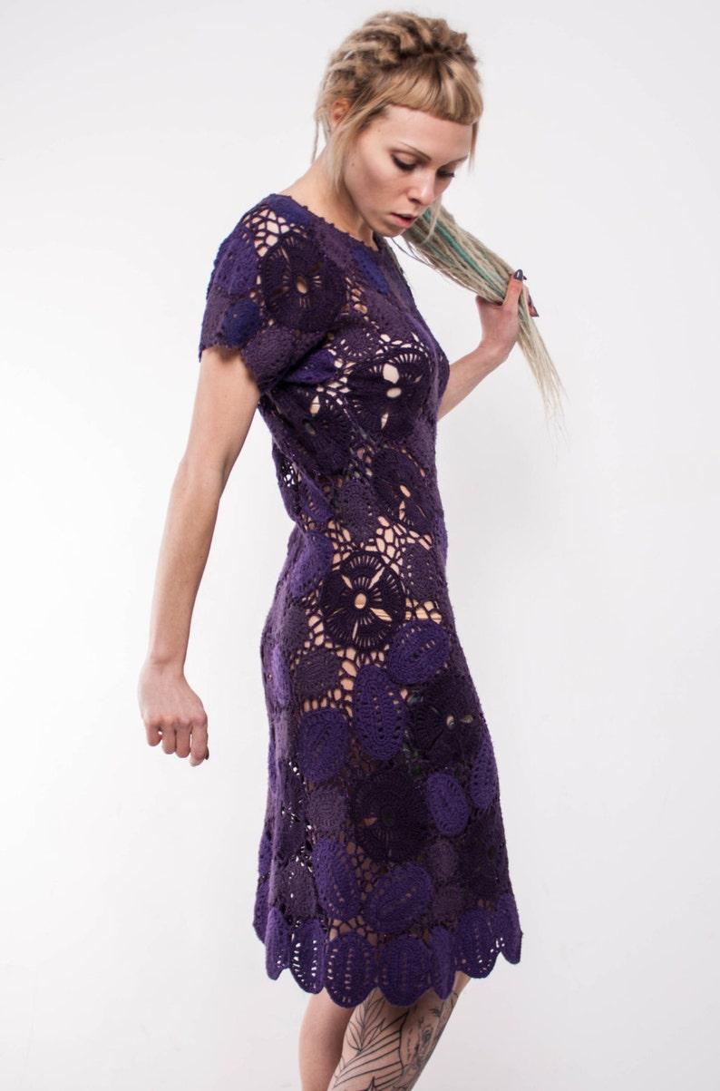 4639e8733c Vestito pizzo Crochet tremenda, piccolo viola Mini Crochet Dress, Handmade  irlandese pizzo abito viola vestito, vestito da estate. Abito vintage