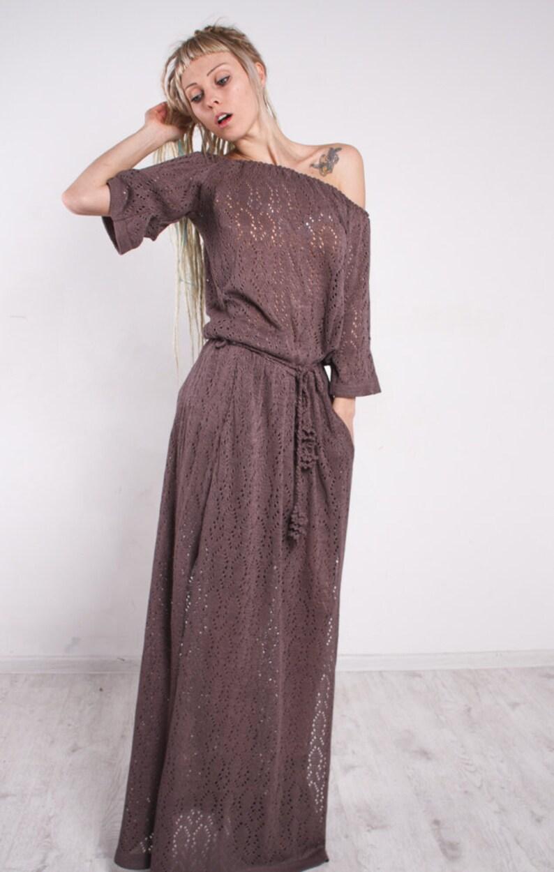 Crochet Mocha Maxi Dress Knit Maxi Dress Off Shoulder Mocha Etsy