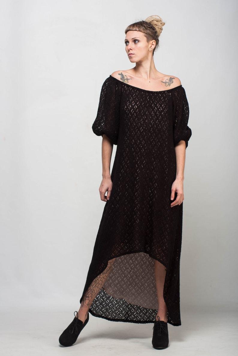 5434c900119f Dalla spalla nero crochet Dress asimmetrica formale abito