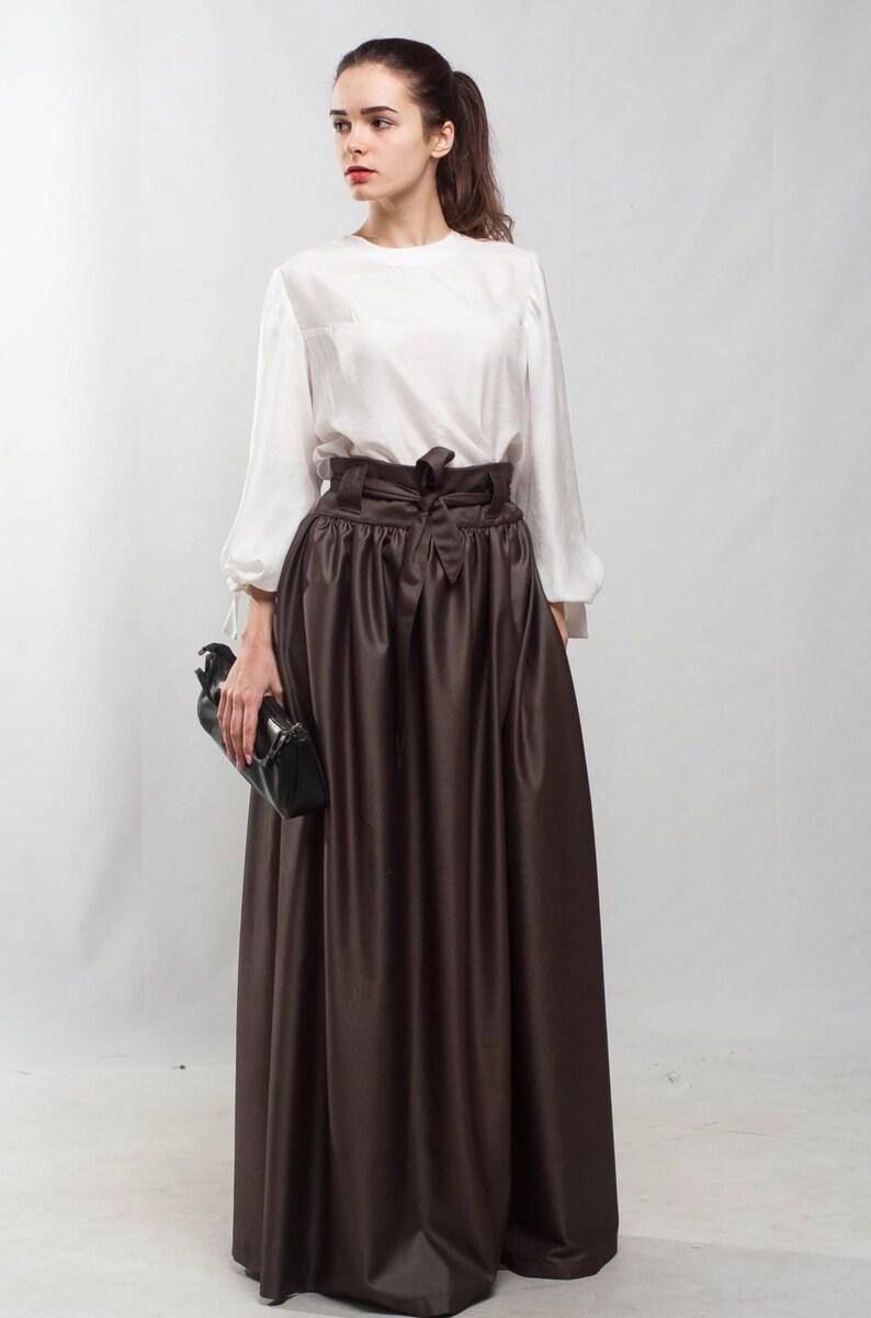 a5b029e0a Taupe maxi Falda acampanada falda plisada falda piso formal falda día  especial falda marrón bolsillos falda cóctel dama falda fiesta falda