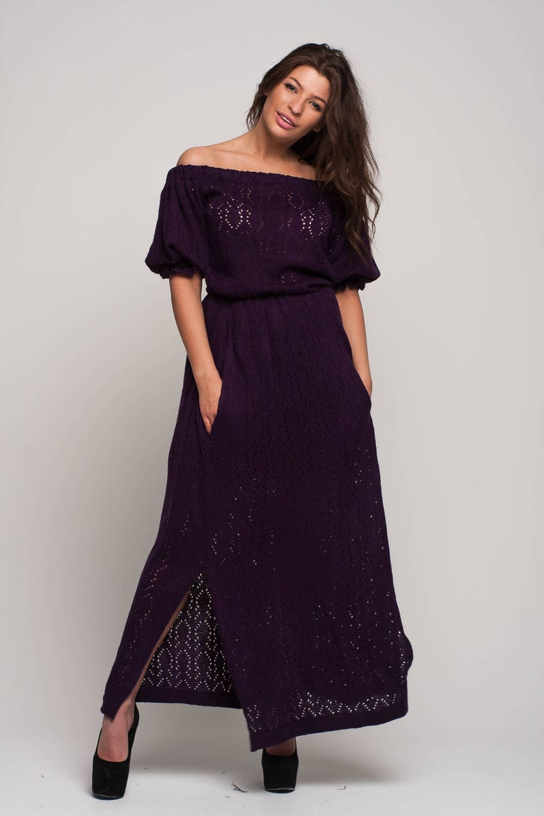 91d6765e45c4 Off shoulder purple maxi prom dress Knit Maxi dress crochet