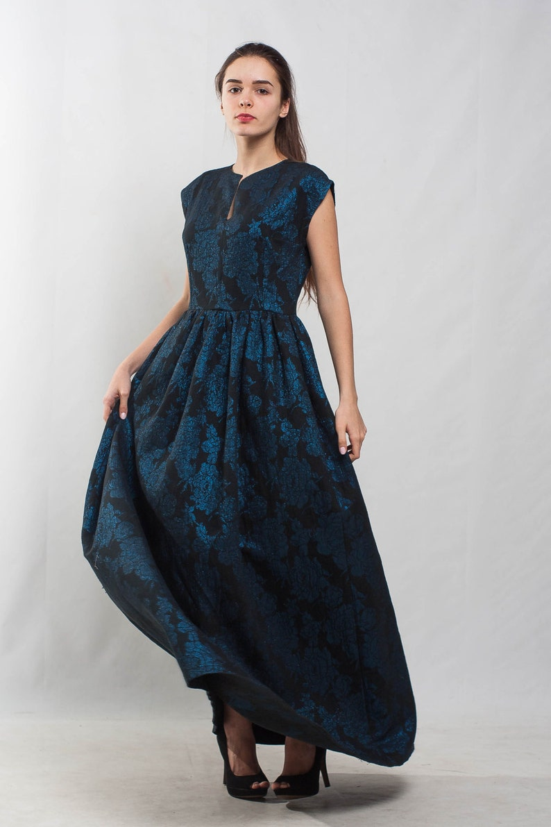 Navy Jacquard formal dress evening blue dress floor dress sleeveless maxi dress flared prom dress cocktail A line dress bridesmaid dress