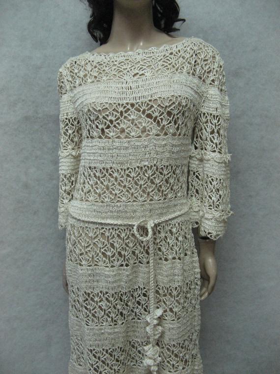 dress dress Dress garment maxi Beachwear maxi beige handmade Crocheted Crochet crochet lacy linen Crochet dress Handmade ivory wP8q5CCT