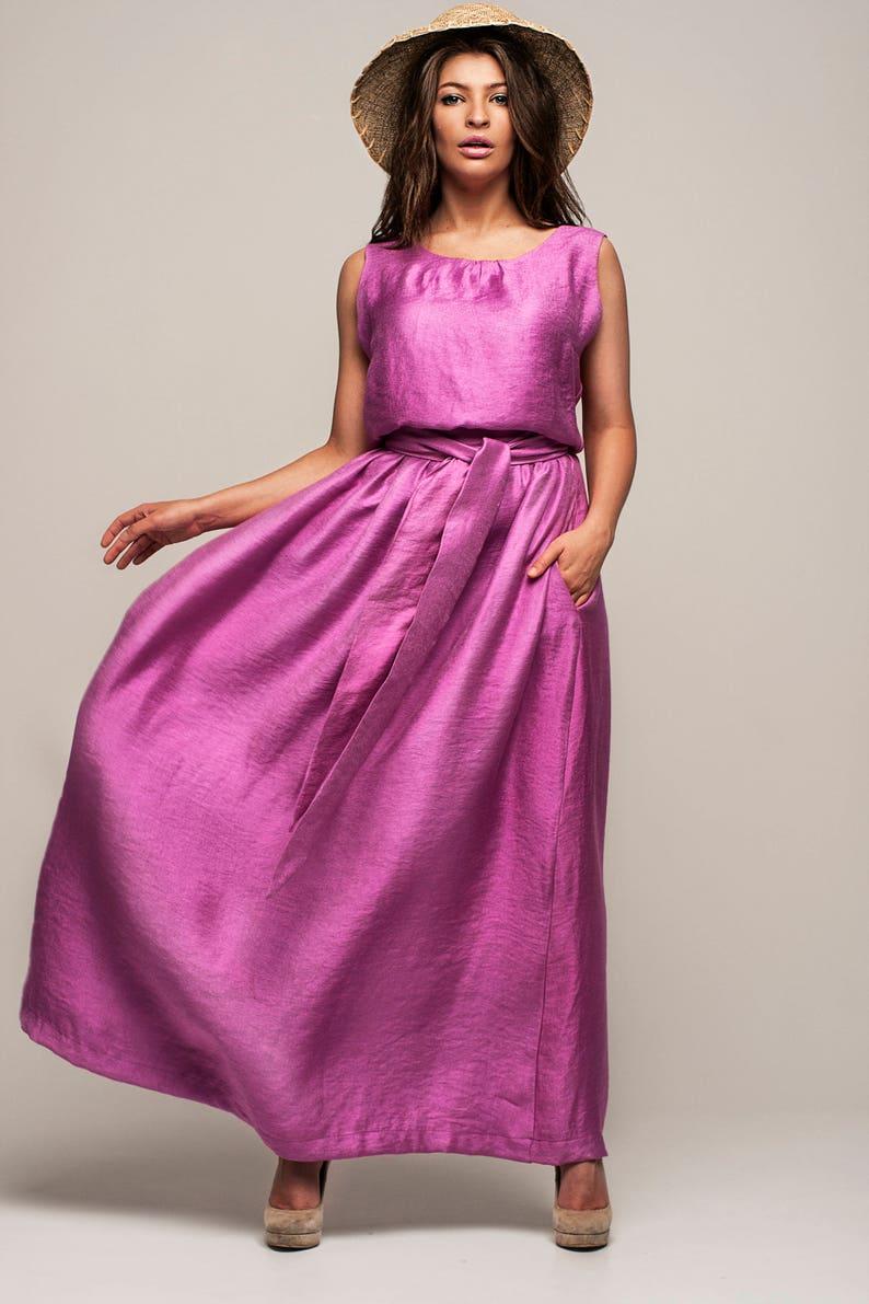 c1b95bab8041 Malva di fucsia sundress maxi abito senza maniche rosa abito